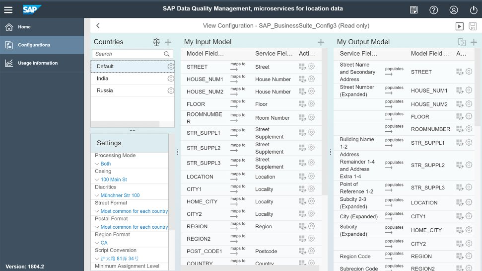 Screenshots of SAP Data Quality Management, microservices for location data, being used by a company to help ensure high-quality and consistent address data