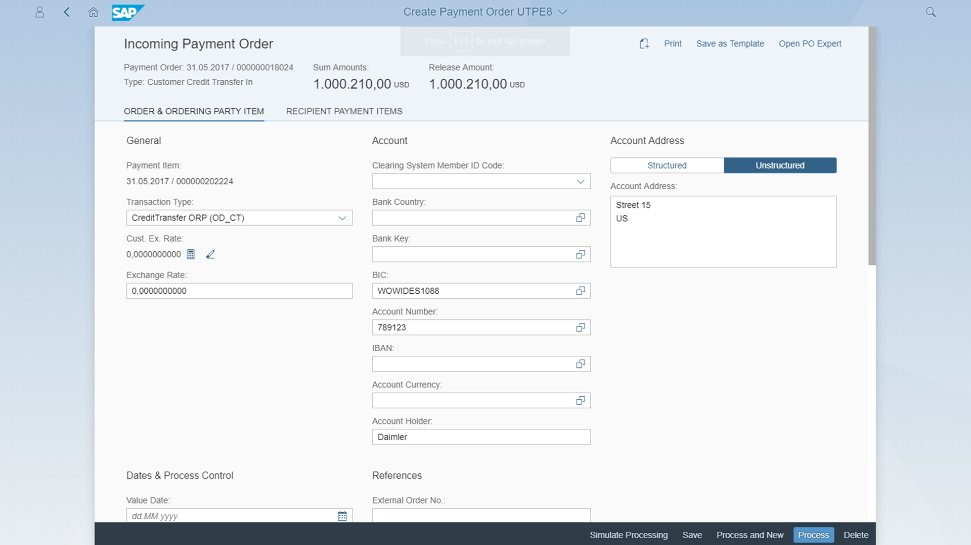 Screenshots of SAP Payment Engine on a desktop