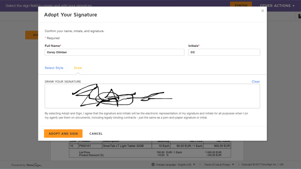 Screenshot of SAP Signature Management by DocuSign software