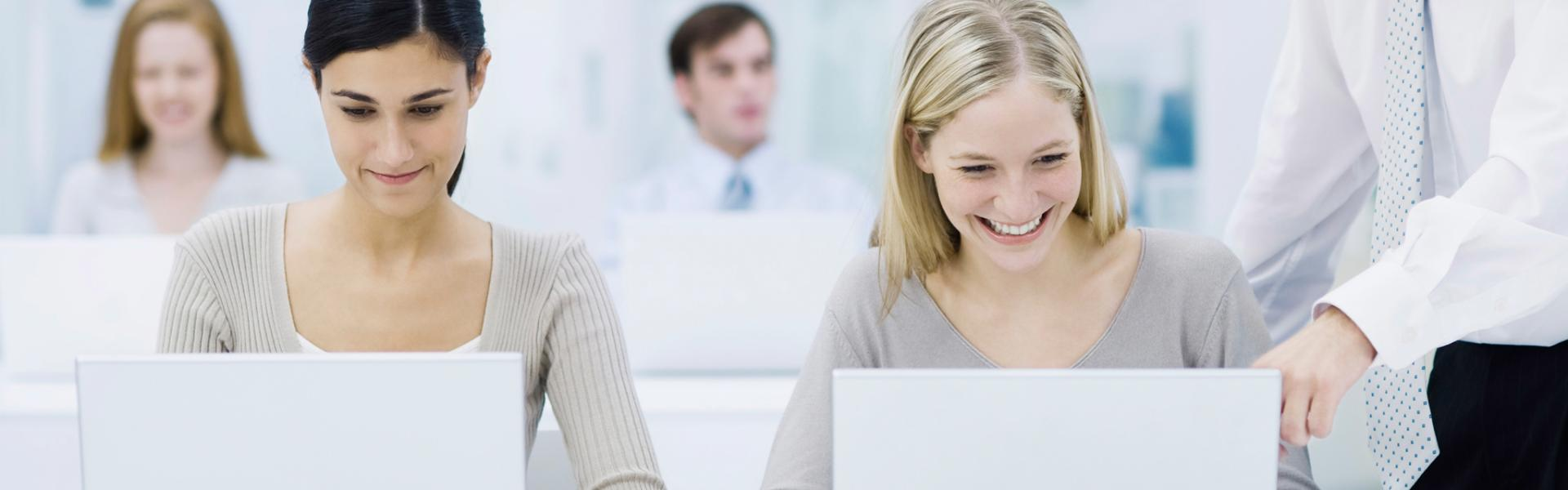 SAP software users in a training course