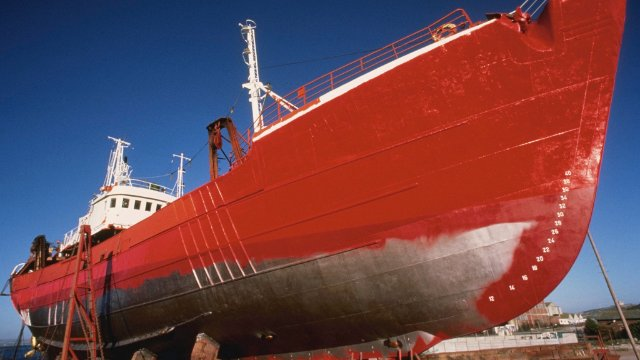 Ship being painted red