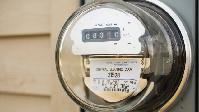 Electricity meter on a home