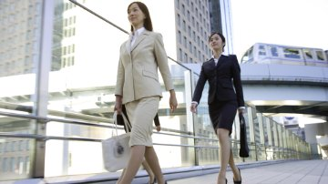 Businesswomen walking