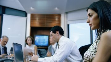 Employees using commodity management solutions in a boardroom