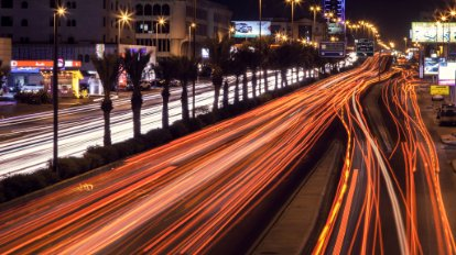 Streaks of light on a highway, representing the speed of SAP HANA One