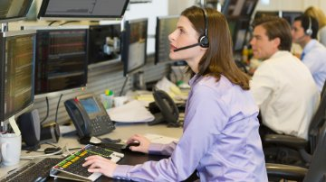 Customer service reps working in a call center