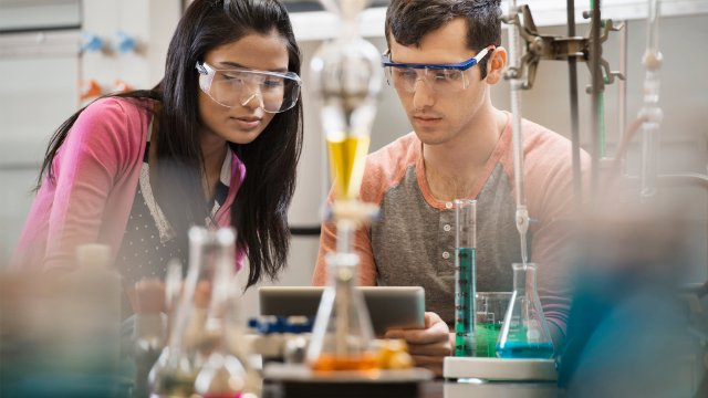 Research students in a lab