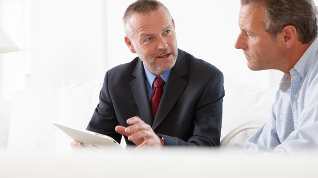 Financial advisor talking to a customer