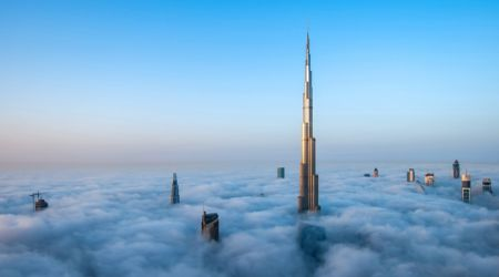Skyscrapers reaching above the clouds