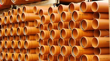PVC pipes in a warehouse