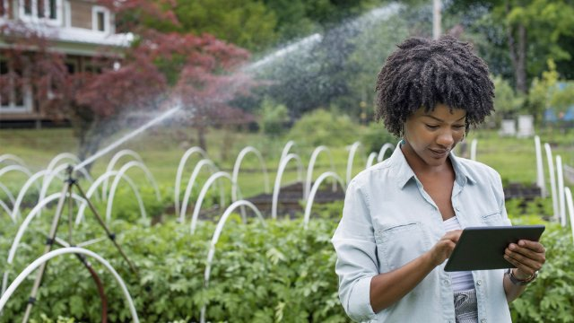 Woman holding a tablet on a farm, standing in front of a watering system