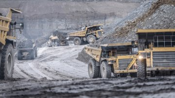 Dumper trucks in surface coal mine
