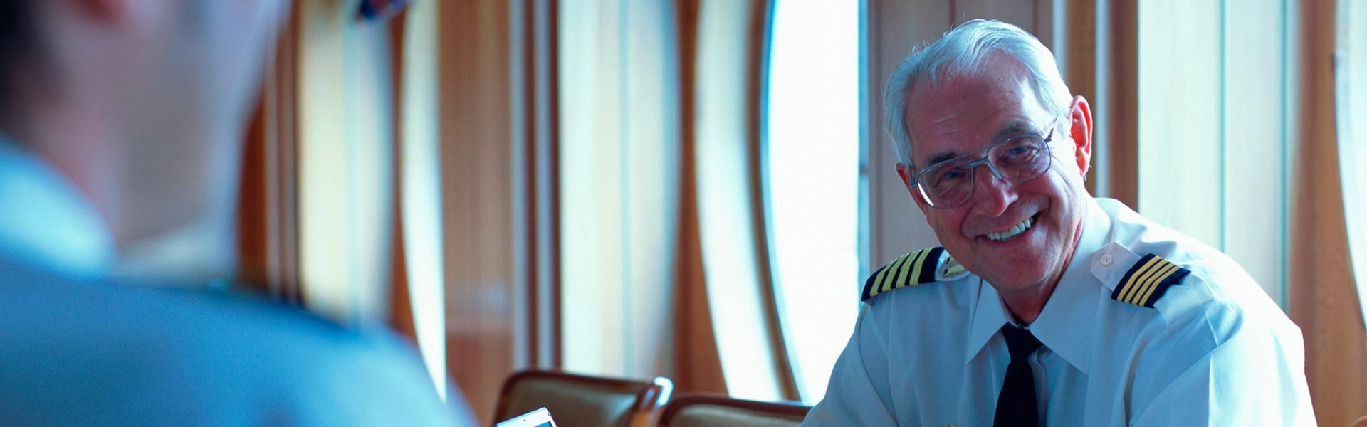 Navy officer on a computer