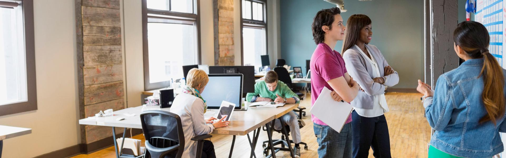 Group of people collaborating in an office