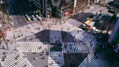 Intersection from above in Tokyo, Japan
