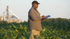 Farmer with digital tablet in crop field