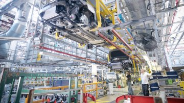 Production line in a car manufacturing plant
