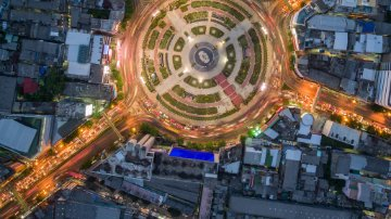 Aerial view of a large traffic circle