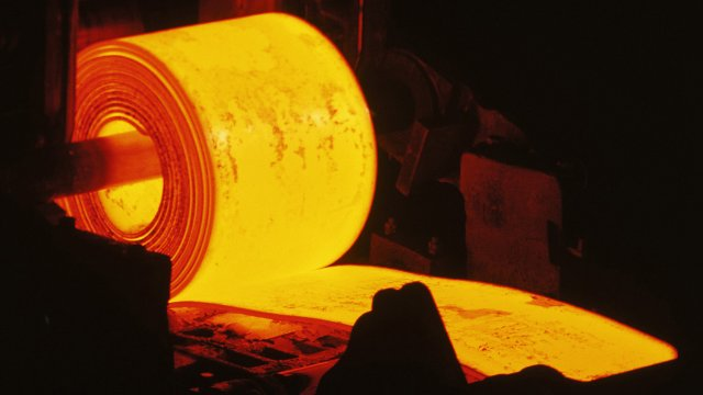 A roll of molten steel