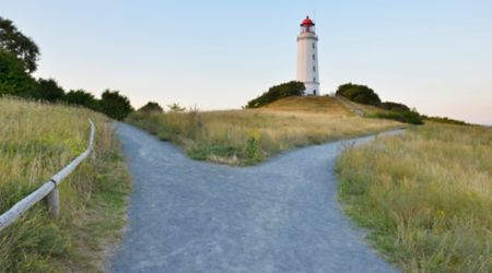 Forked path to a lighthouse