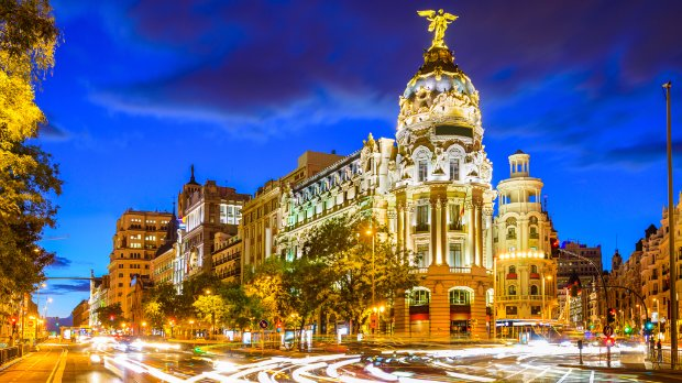Madrid Spain at Gran Via, representing a place that uses future cities software