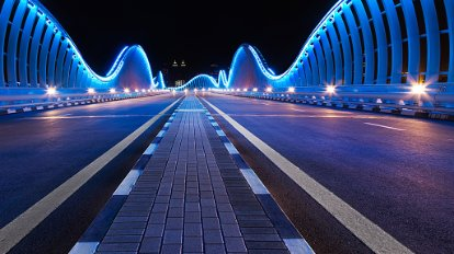 Lighting installation on a bridge in Dubai
