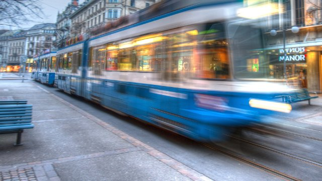 Tram passing on a street in Zurich, Switzerland