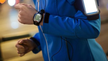 Runner wearing a smart watch