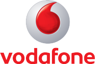 Logo for Vodafone, a telecommunications company that runs SAP solutions