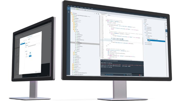Two monitors with images of application development services on SAP HANA