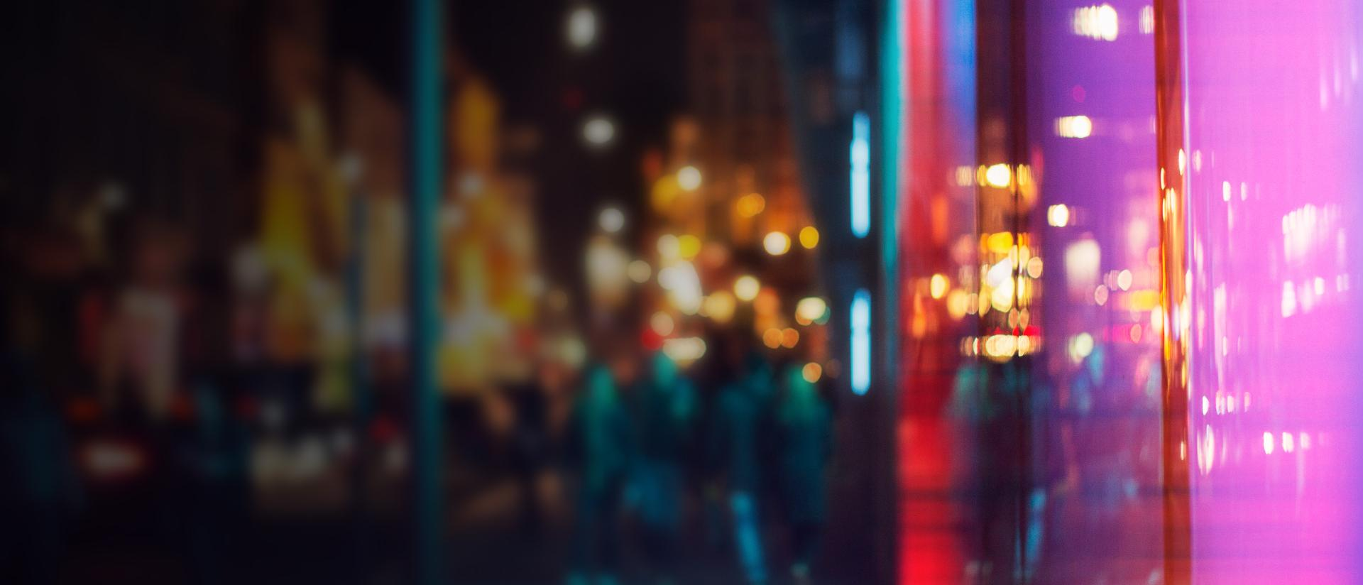 Photo of blurred city lights at night