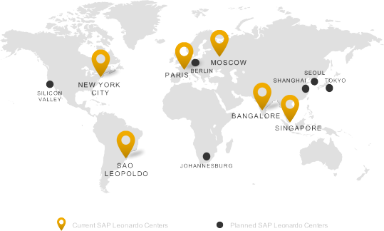 Map of SAP Leonardo Centers