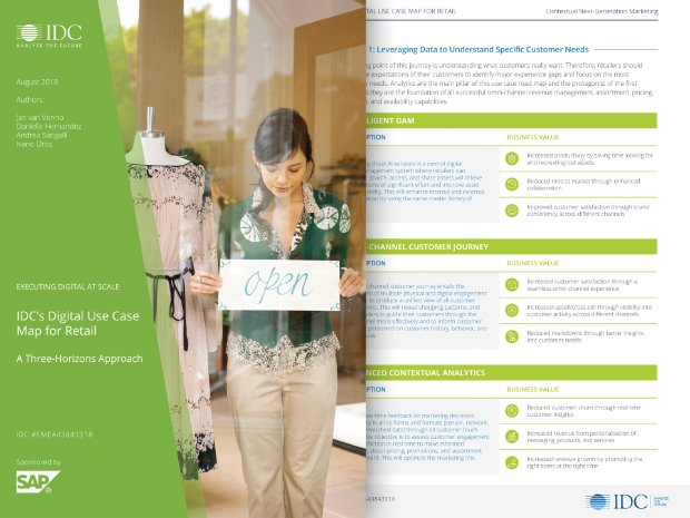 Screenshot of an IDC guide on digital innovation in retail