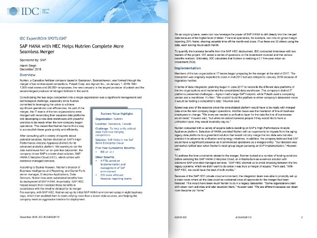 Screenshot of an IDC report detailing how Nutrien runs SAP HANA Enterprise Cloud