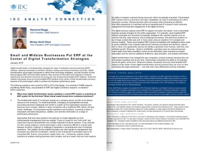 Screenshot of a paper discussing the role of ERP in digital transformation, featuring a Q&A with experts from IDC