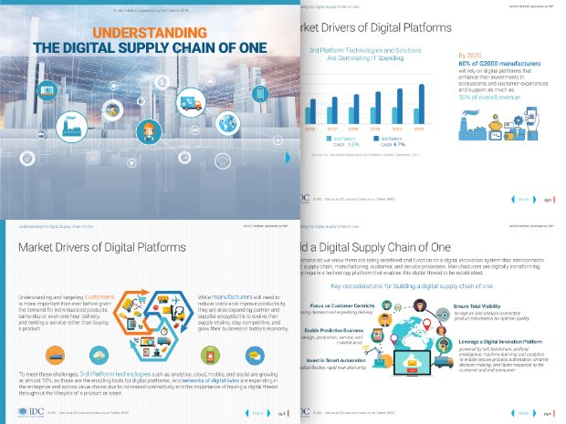 Schermata di un infobrief di IDC sui vantaggi di una Digital Supply Chain of One