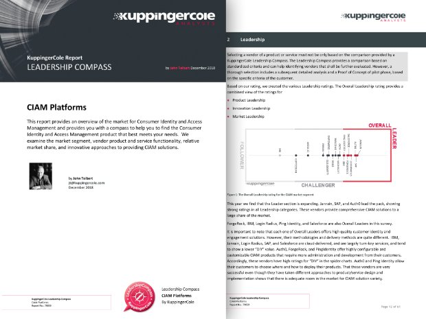 Screenshot of a KuppingerCole report rating SAP as a leader in CIAM