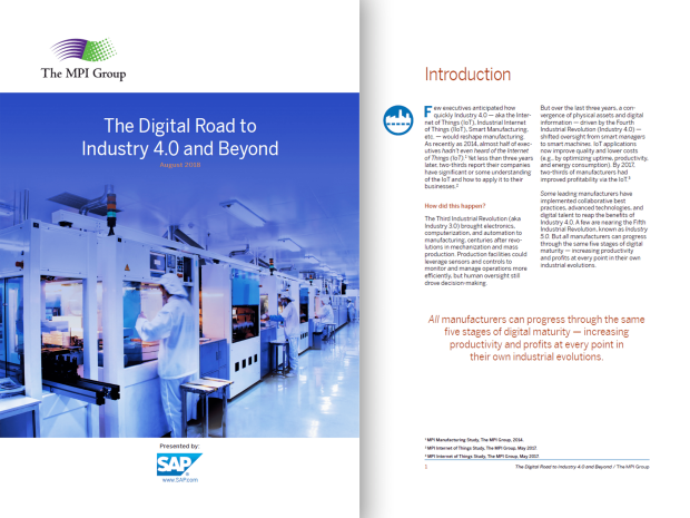 Screenshot from an SAP report on digital manufacturing and Industry 4.0