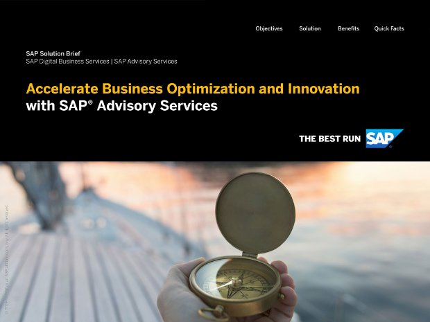 Screenshot of an solution brief about SAP Advisory Services