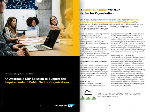 Screenshot of a solution brief detailing the ways small and midsize public sector organisations can benefit from SAP Business ByDesign