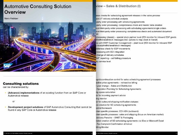 Image of a solution brief about automotive consulting services from SAP