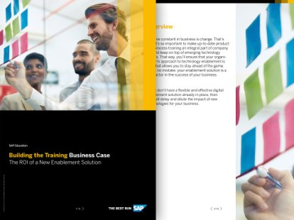 Screenshot of a brochure on building the training business case
