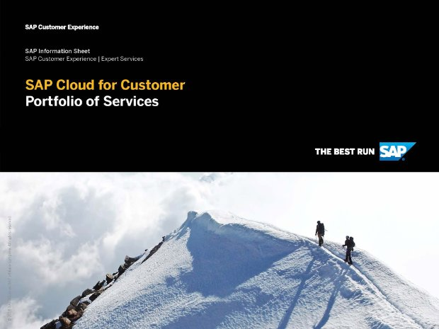 Screenshot from a brochure on services for SAP Sales Cloud with two people hiking a snowy mountain