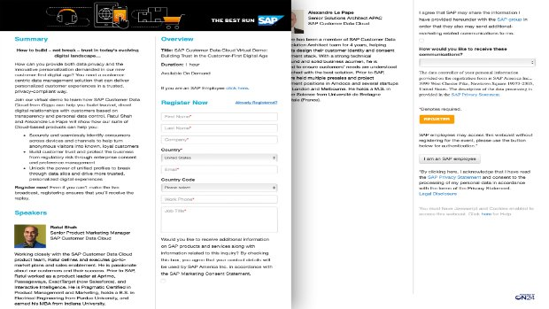 Screenshot from a demo of SAP Customer Identity