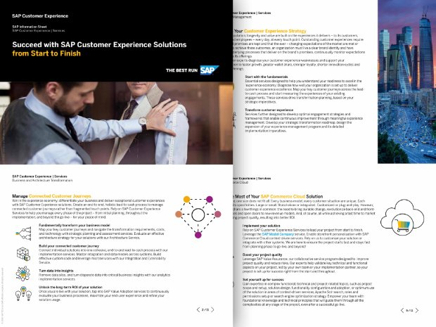 Screenshot of information sheet on SAP Customer Experience Expert Services for deployment of SAP C/4HANA