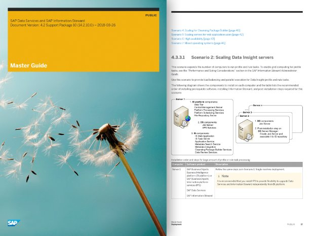 Screenshot of the master guide document for SAP Data Services