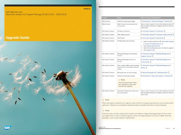 Screenshot of upgrade guide document for SAP Data Services