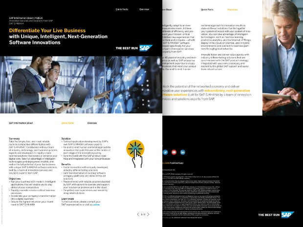 Image of an information sheet about differentiating your business with SAP S/4HANA