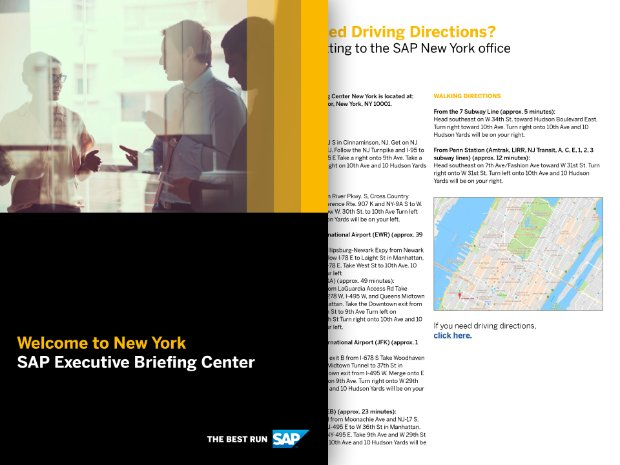 Screenshot of the SAP EBC Hudson Yards, NYC visitor's guide