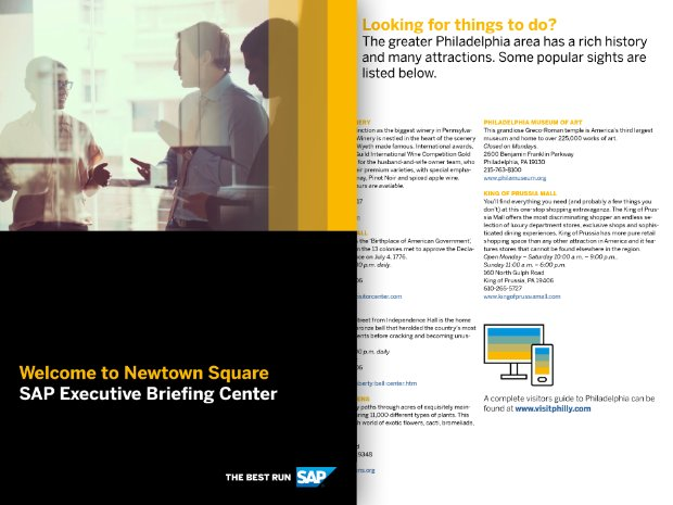 Screenshot of the SAP EBC Newtown Square, PA visitor's guide